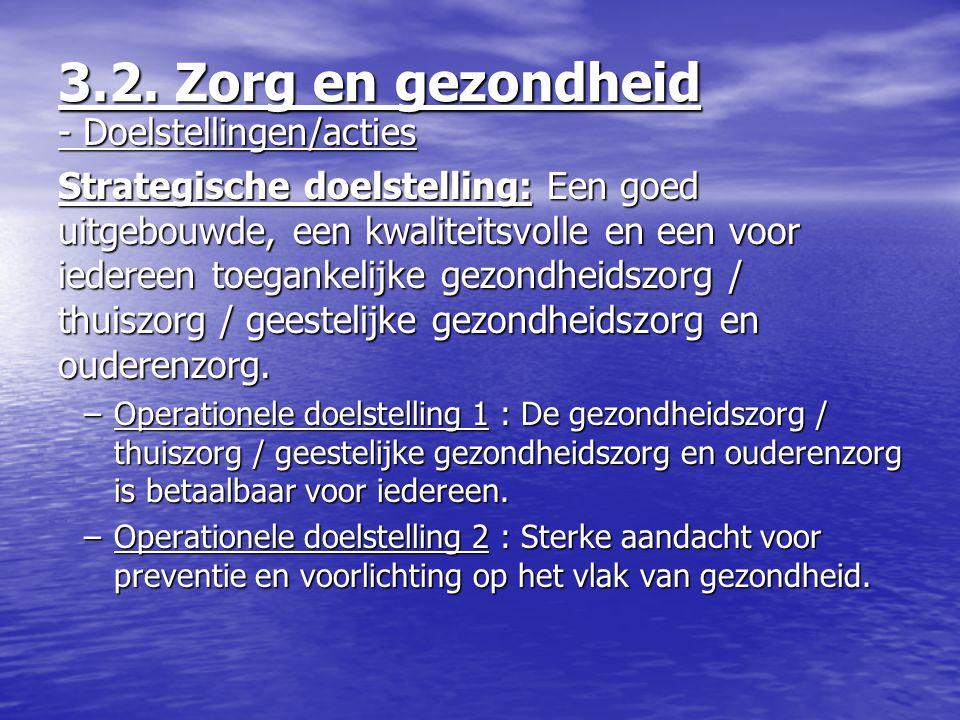 - Doelstellingen/acties Strategische doelstelling: Een goed uitgebouwde, een kwaliteitsvolle en een voor iedereen toegankelijke gezondheidszorg / thui