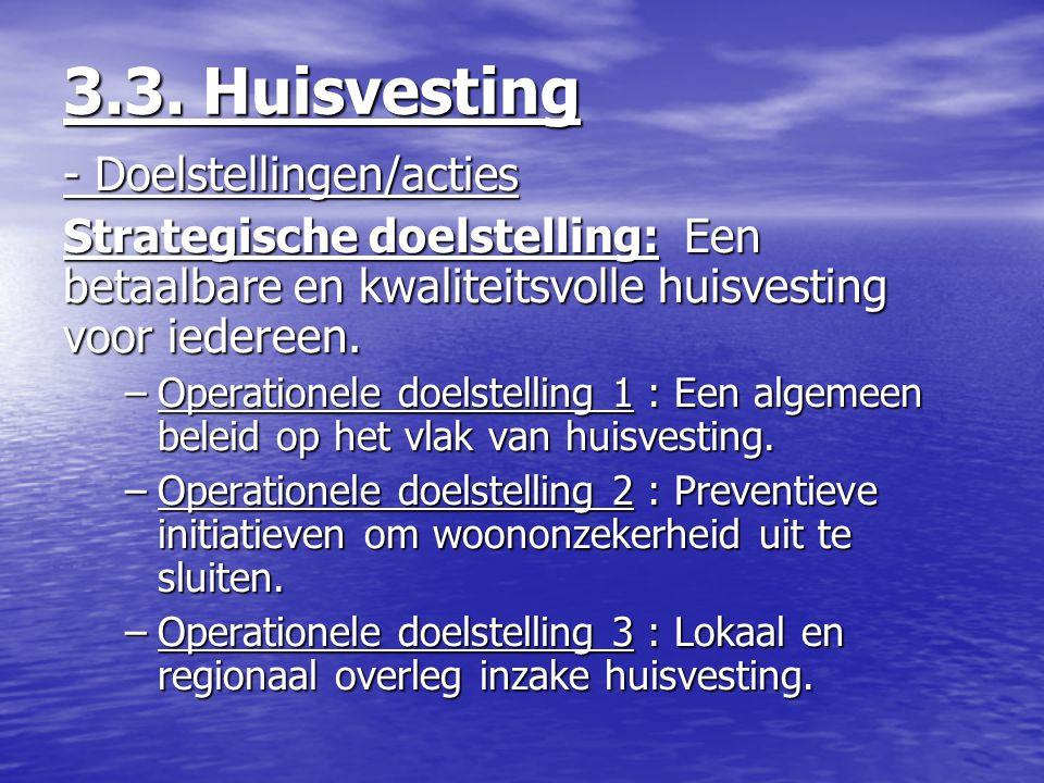 3.3. Huisvesting - Doelstellingen/acties Strategische doelstelling: Een betaalbare en kwaliteitsvolle huisvesting voor iedereen. –Operationele doelste