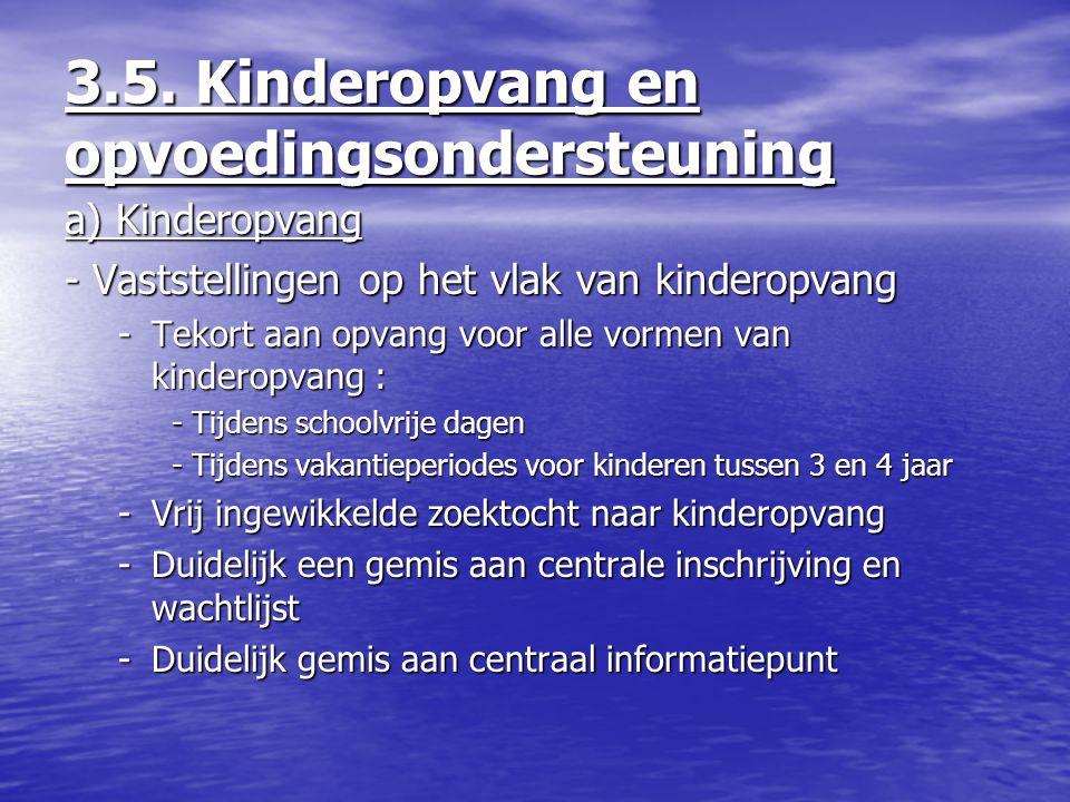 3.5. Kinderopvang en opvoedingsondersteuning a) Kinderopvang - Vaststellingen op het vlak van kinderopvang -Tekort aan opvang voor alle vormen van kin
