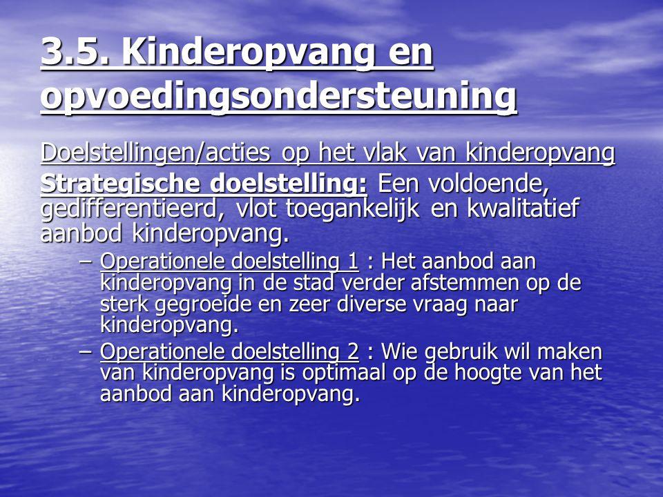 3.5. Kinderopvang en opvoedingsondersteuning Doelstellingen/acties op het vlak van kinderopvang Strategische doelstelling: Een voldoende, gedifferenti