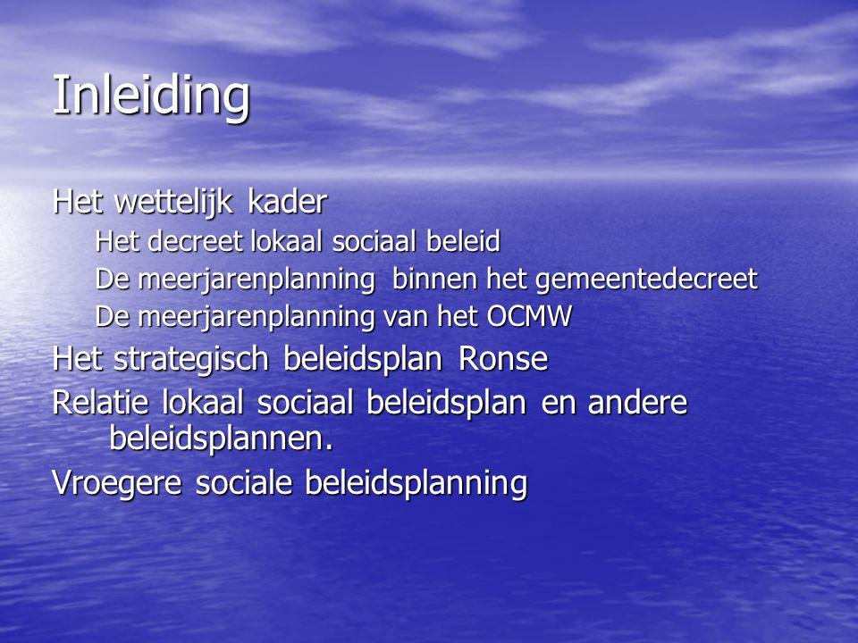 Inleiding Het wettelijk kader Het decreet lokaal sociaal beleid De meerjarenplanning binnen het gemeentedecreet De meerjarenplanning van het OCMW Het