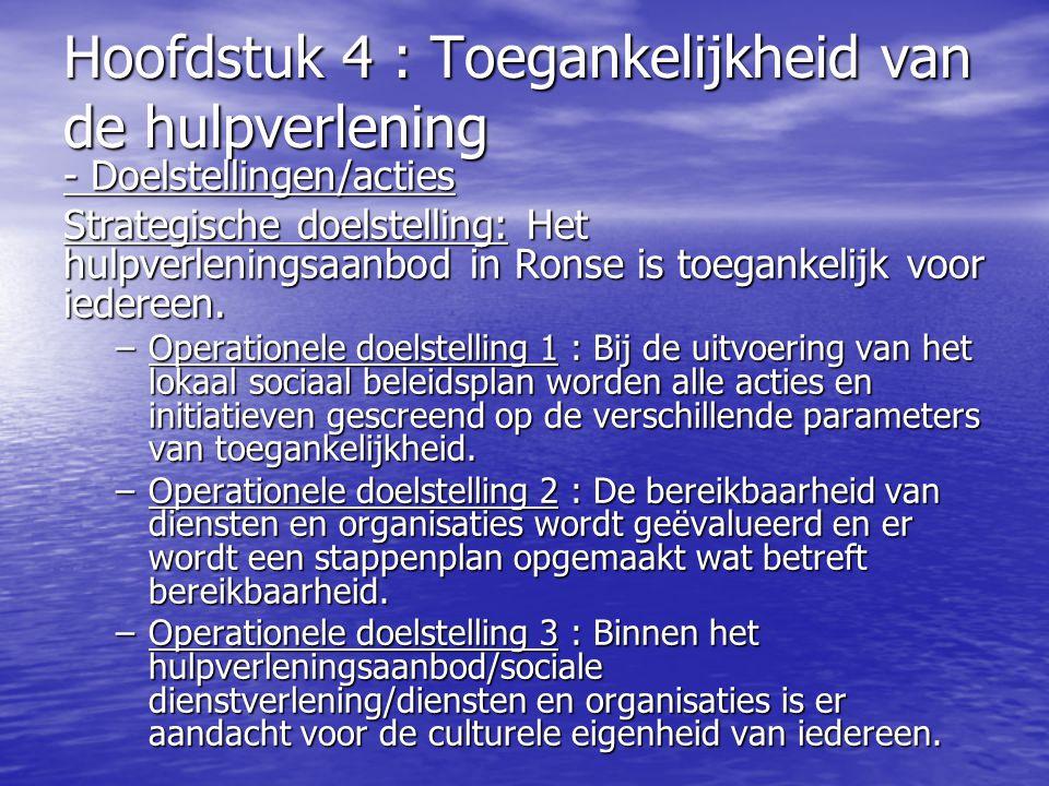 Hoofdstuk 4 : Toegankelijkheid van de hulpverlening - Doelstellingen/acties Strategische doelstelling: Het hulpverleningsaanbod in Ronse is toegankeli