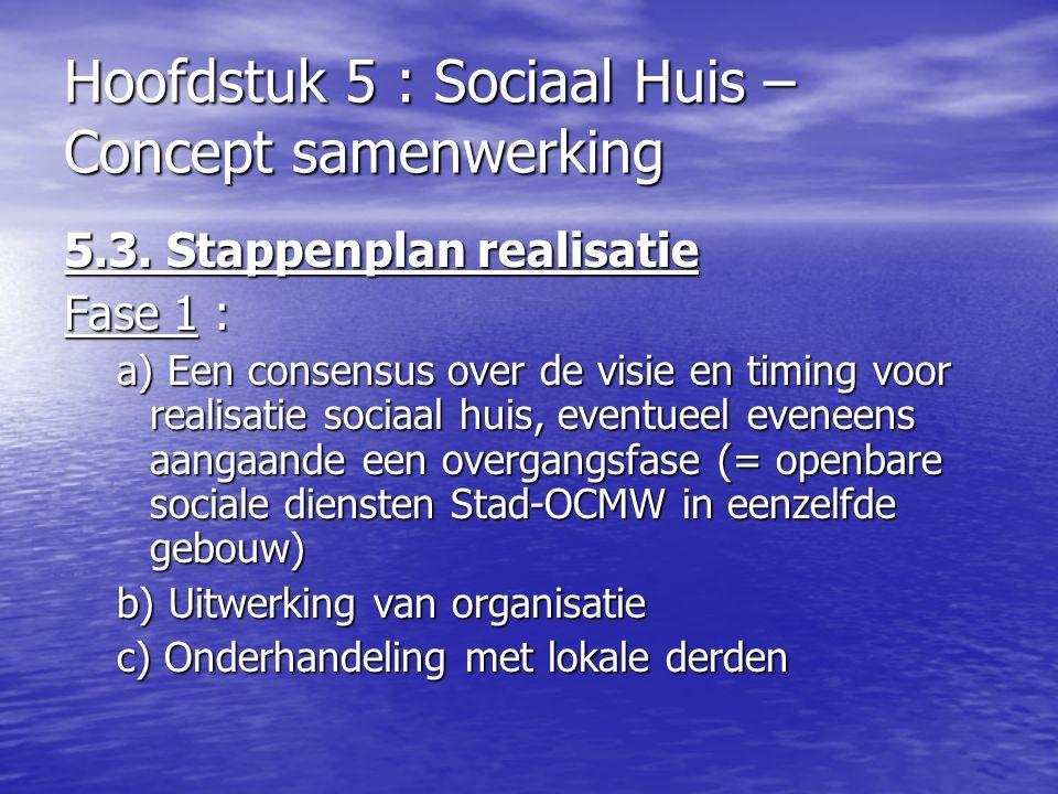 Hoofdstuk 5 : Sociaal Huis – Concept samenwerking 5.3. Stappenplan realisatie Fase 1 : a) Een consensus over de visie en timing voor realisatie sociaa