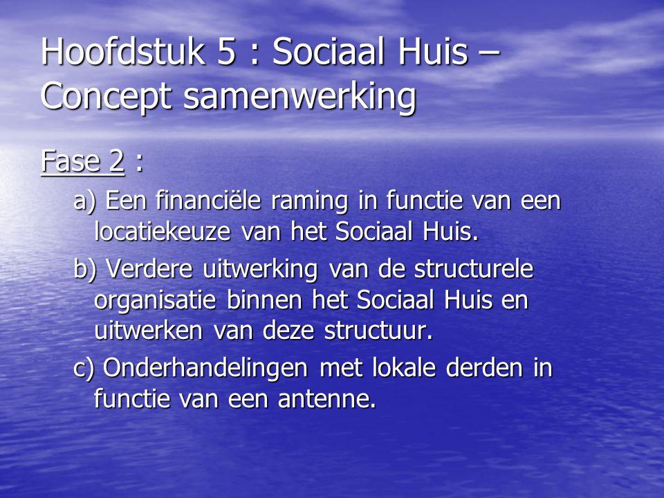 Hoofdstuk 5 : Sociaal Huis – Concept samenwerking Fase 2 : a) Een financiële raming in functie van een locatiekeuze van het Sociaal Huis. b) Verdere u