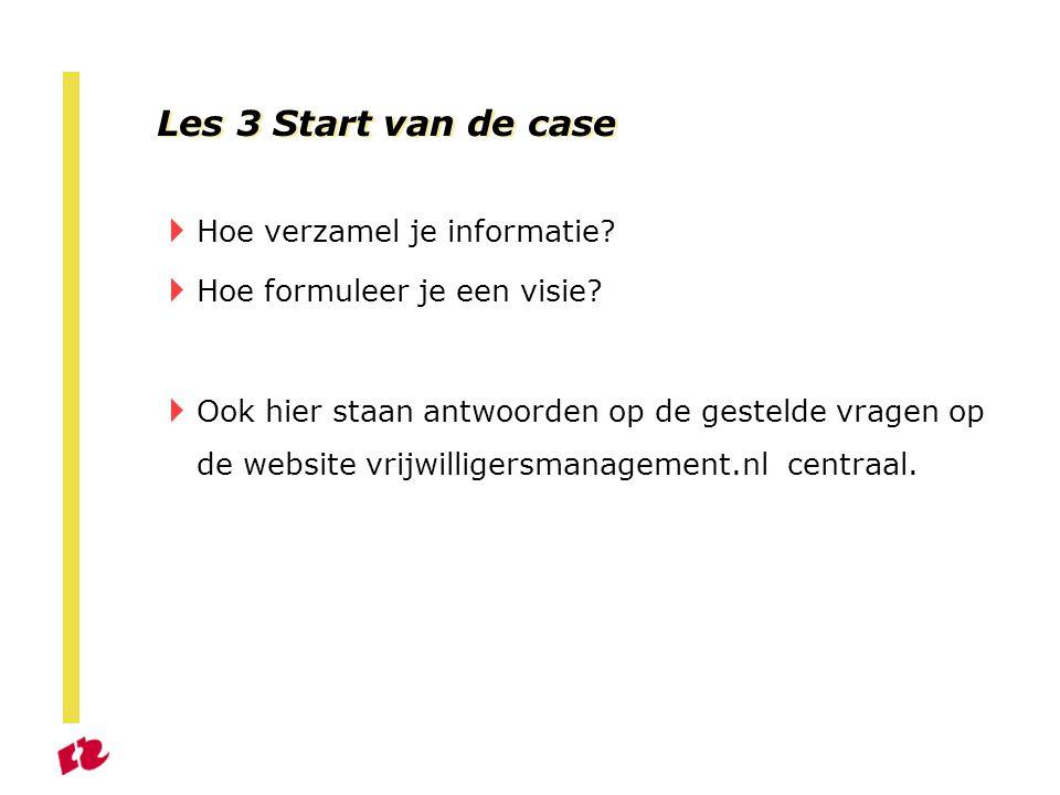 Les 3 Start van de case  Hoe verzamel je informatie.