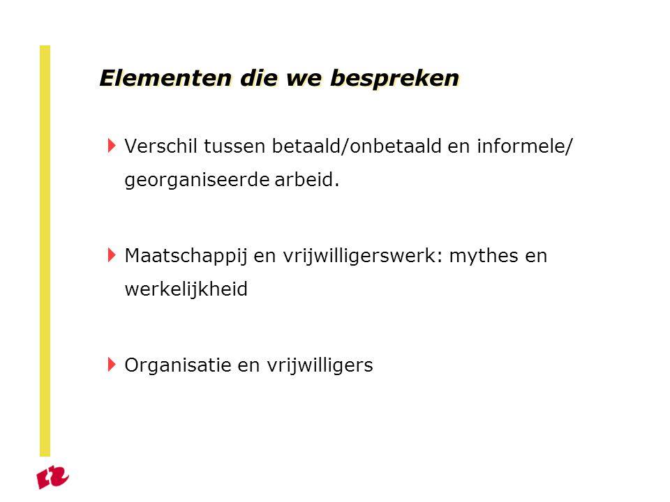 Elementen die we bespreken  Verschil tussen betaald/onbetaald en informele/ georganiseerde arbeid.