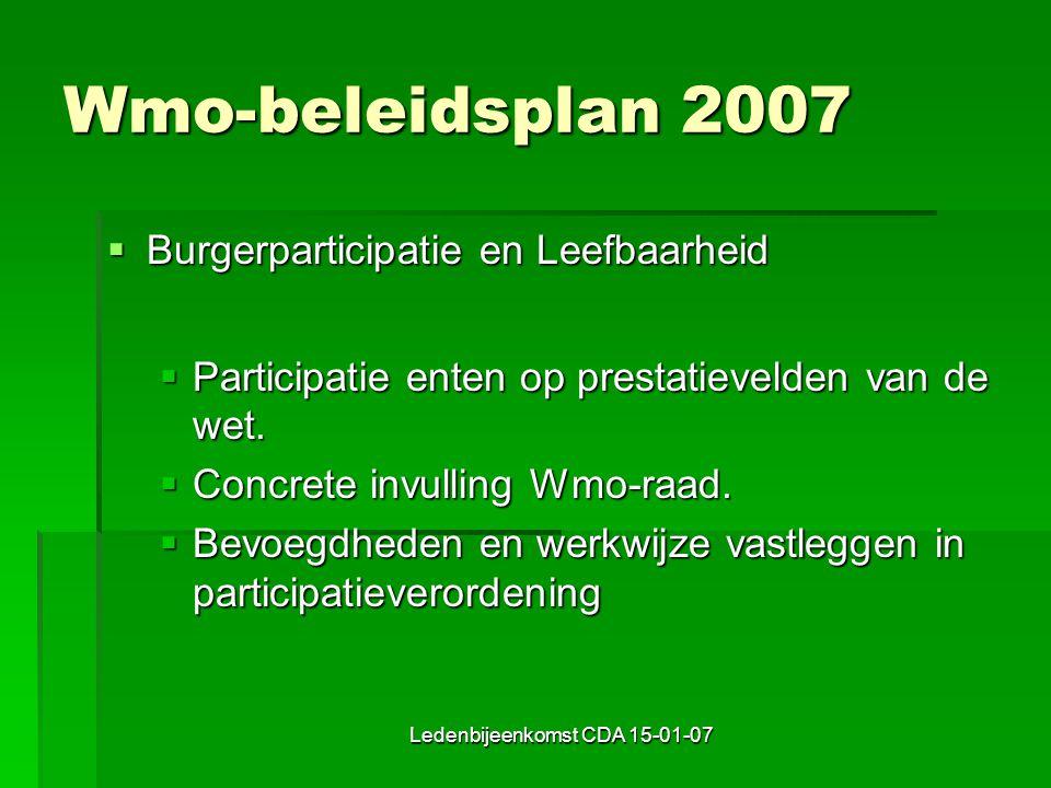 Ledenbijeenkomst CDA 15-01-07 Wmo-beleidsplan 2007  Burgerparticipatie en Leefbaarheid  Participatie enten op prestatievelden van de wet.