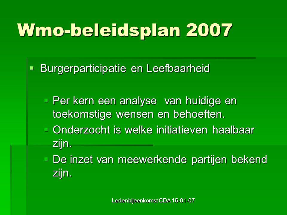 Ledenbijeenkomst CDA 15-01-07 Wmo-beleidsplan 2007  Burgerparticipatie en Leefbaarheid  Per kern een analyse van huidige en toekomstige wensen en behoeften.