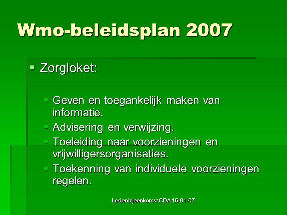 Ledenbijeenkomst CDA 15-01-07 Wmo-beleidsplan 2007  Zorgloket:  Geven en toegankelijk maken van informatie.