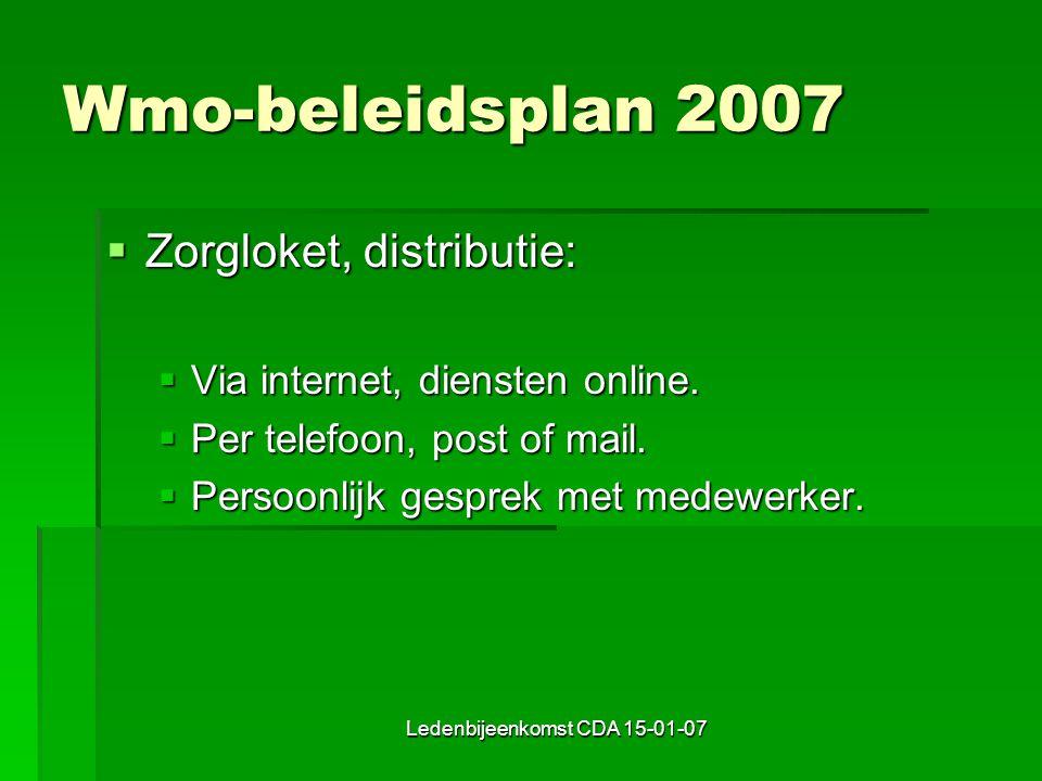 Ledenbijeenkomst CDA 15-01-07 Wmo-beleidsplan 2007  Zorgloket, distributie:  Via internet, diensten online.