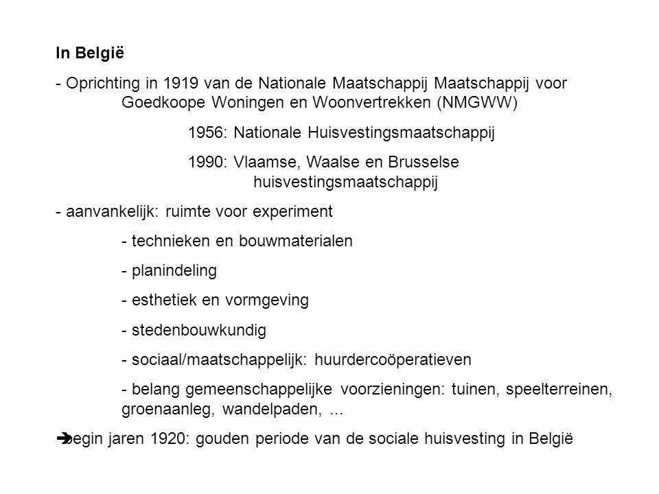 In België - Oprichting in 1919 van de Nationale Maatschappij Maatschappij voor Goedkoope Woningen en Woonvertrekken (NMGWW) 1956: Nationale Huisvestin