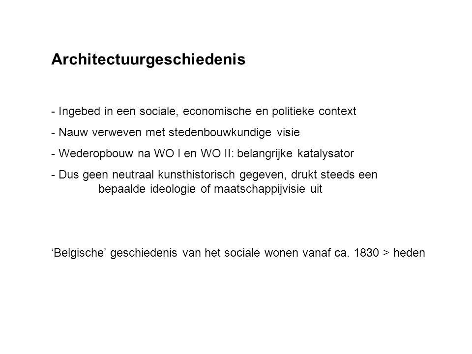 Architectuurgeschiedenis - Ingebed in een sociale, economische en politieke context - Nauw verweven met stedenbouwkundige visie - Wederopbouw na WO I