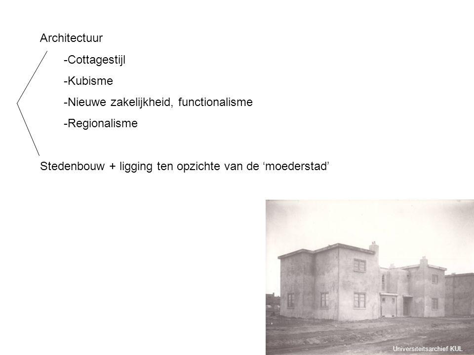 Architectuur -Cottagestijl -Kubisme -Nieuwe zakelijkheid, functionalisme -Regionalisme Stedenbouw + ligging ten opzichte van de 'moederstad' Universit