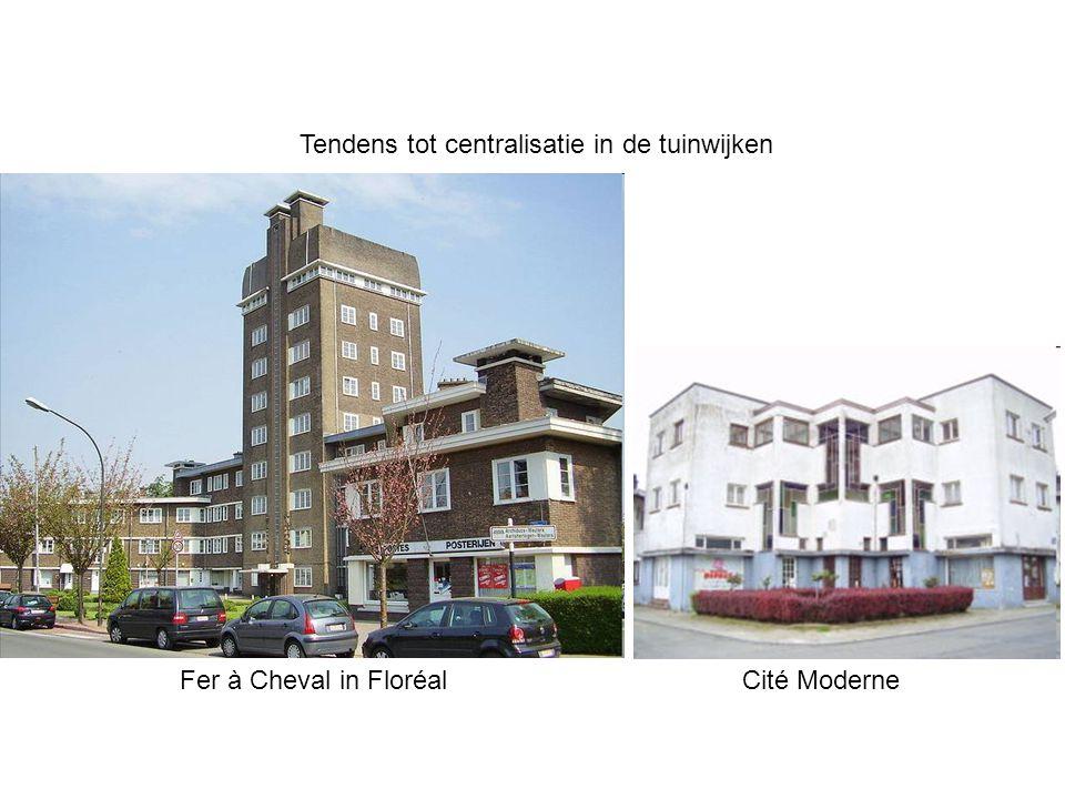Tendens tot centralisatie in de tuinwijken Fer à Cheval in Floréal Cité Moderne