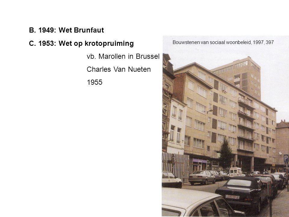 B. 1949: Wet Brunfaut C. 1953: Wet op krotopruiming vb. Marollen in Brussel Charles Van Nueten 1955 Bouwstenen van sociaal woonbeleid, 1997, 397