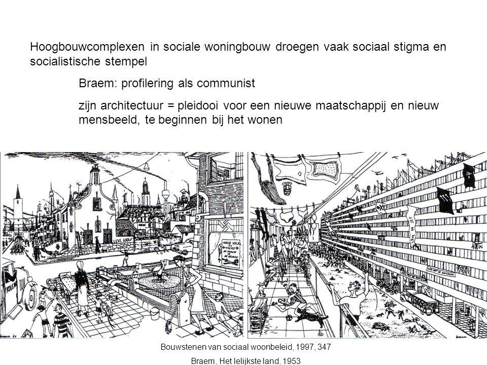 Hoogbouwcomplexen in sociale woningbouw droegen vaak sociaal stigma en socialistische stempel Braem: profilering als communist zijn architectuur = ple