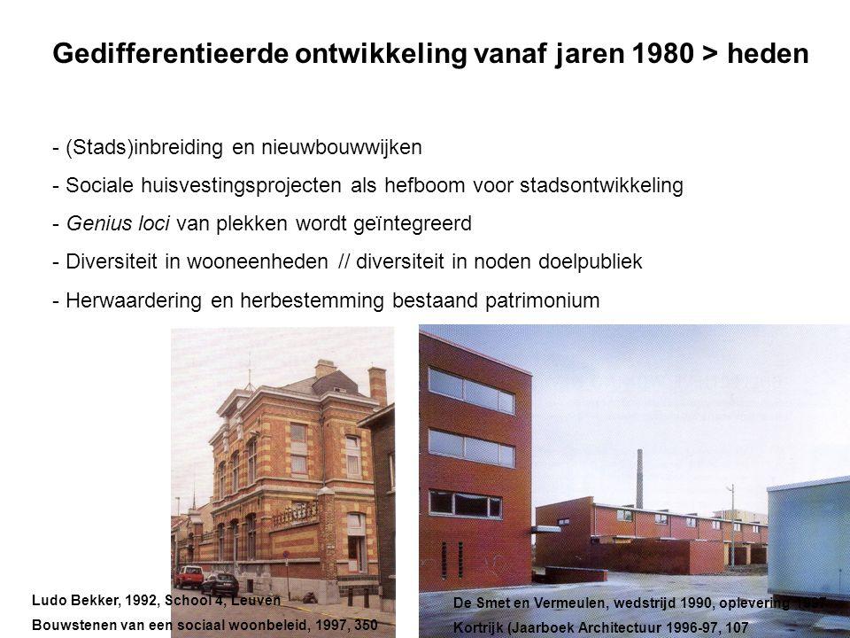 Gedifferentieerde ontwikkeling vanaf jaren 1980 > heden - (Stads)inbreiding en nieuwbouwwijken - Sociale huisvestingsprojecten als hefboom voor stadso
