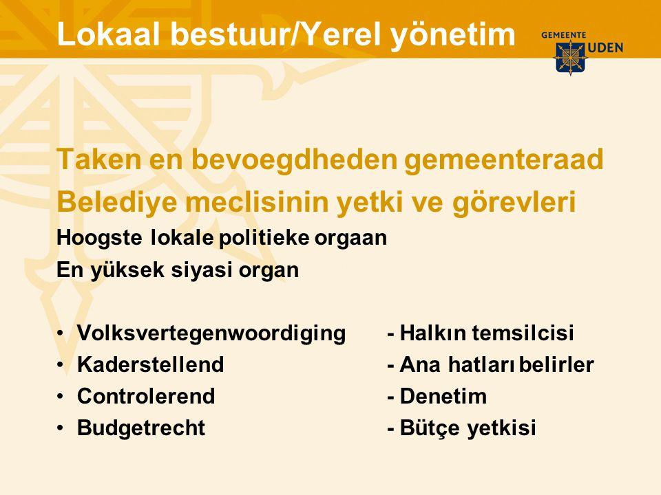 Lokaal bestuur/Yerel yönetim Taken en bevoegdheden gemeenteraad Belediye meclisinin yetki ve görevleri Hoogste lokale politieke orgaan En yüksek siyas