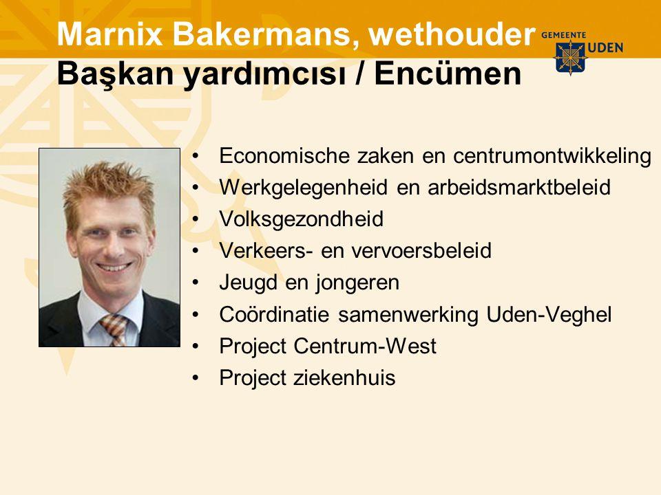 Marnix Bakermans, wethouder Başkan yardımcısı / Encümen Economische zaken en centrumontwikkeling Werkgelegenheid en arbeidsmarktbeleid Volksgezondheid Verkeers- en vervoersbeleid Jeugd en jongeren Coördinatie samenwerking Uden-Veghel Project Centrum-West Project ziekenhuis