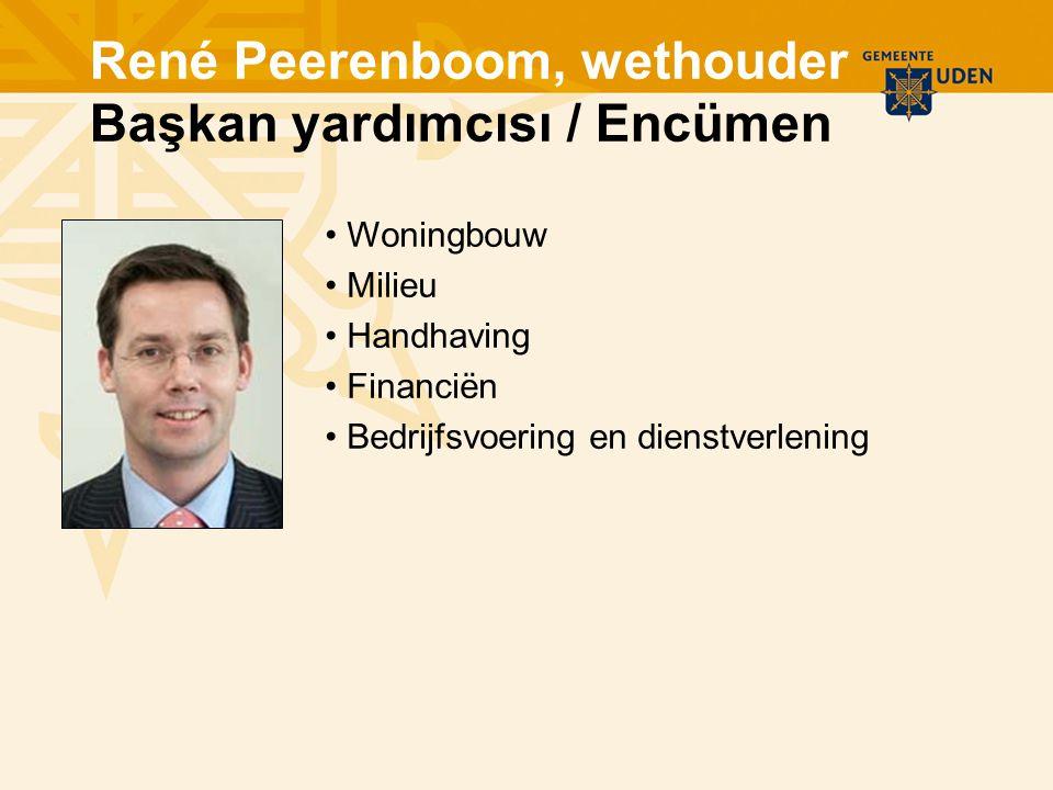 Woningbouw Milieu Handhaving Financiën Bedrijfsvoering en dienstverlening René Peerenboom, wethouder Başkan yardımcısı / Encümen