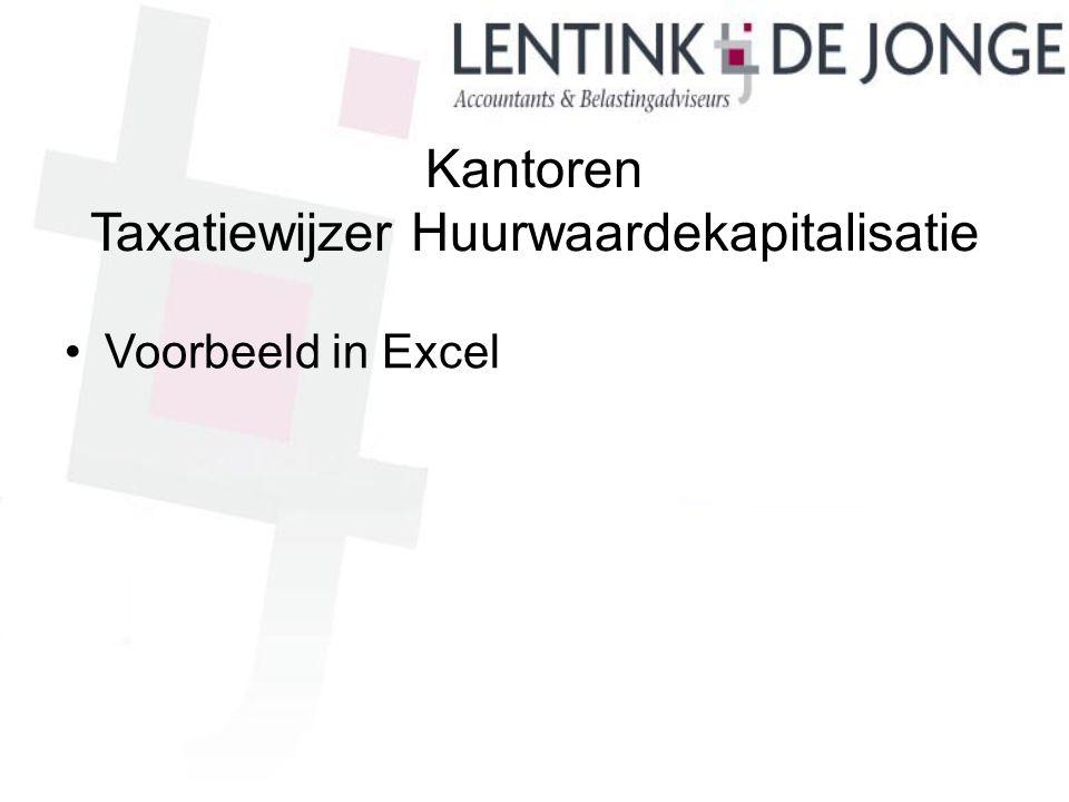 Kantoren Taxatiewijzer Huurwaardekapitalisatie Voorbeeld in Excel