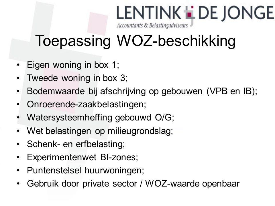 Toepassing WOZ-beschikking Eigen woning in box 1; Tweede woning in box 3; Bodemwaarde bij afschrijving op gebouwen (VPB en IB); Onroerende-zaakbelasti