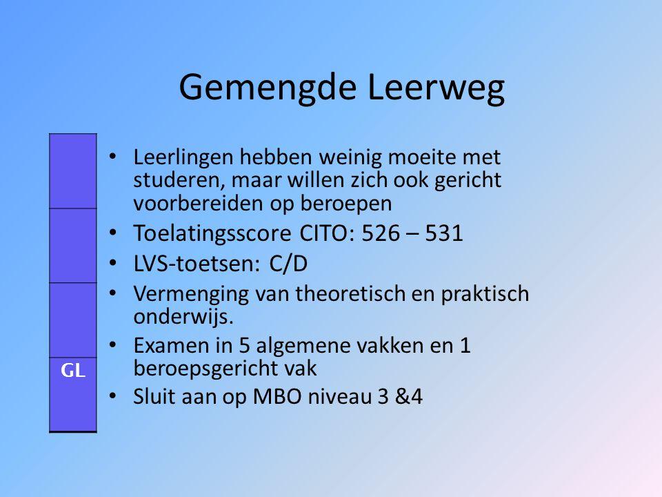 Theoretische leerweg Lijkt op de voormalige MAVO Toelatingsscore CITO: 532 – 536 LVS-toetsen: C/B Gericht op studie uit boeken Niet gericht op beroeps