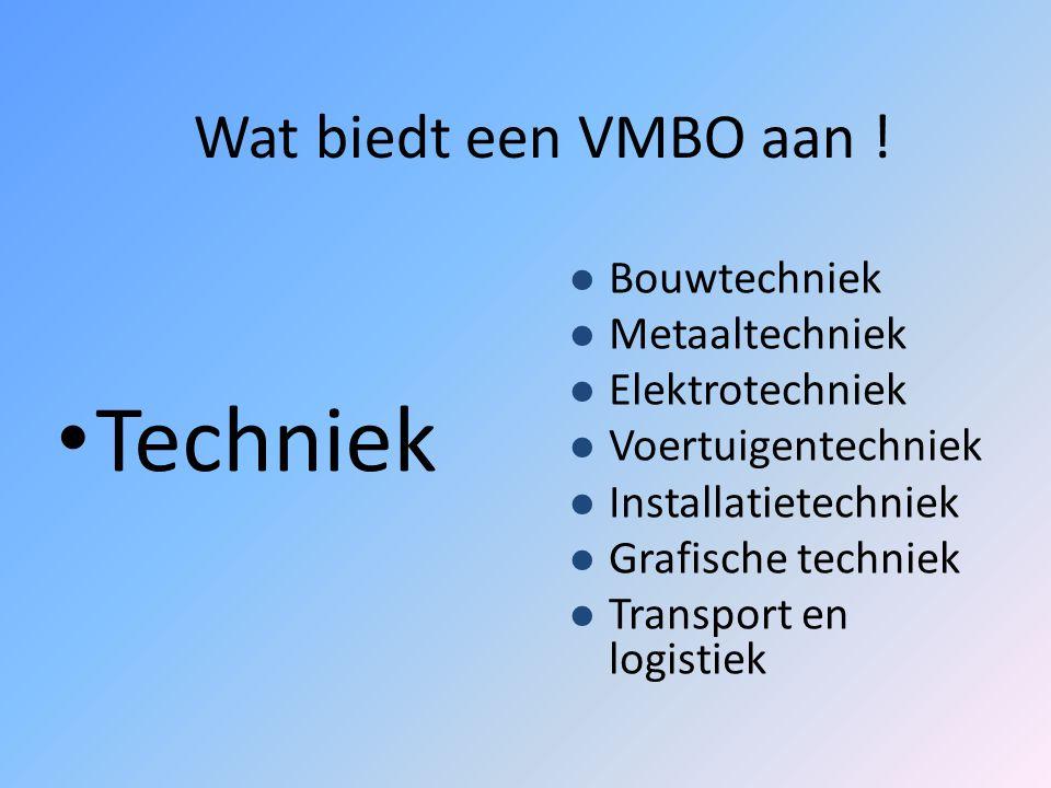 De sectoren bij het VMBO Techniek Zorg en welzijn Economie Landbouw VMBO TLGLKBLBBL
