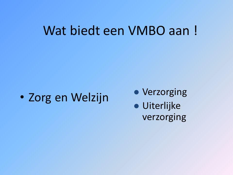 Wat biedt een VMBO aan ! Techniek Bouwtechniek Metaaltechniek Elektrotechniek Voertuigentechniek Installatietechniek Grafische techniek Transport en l