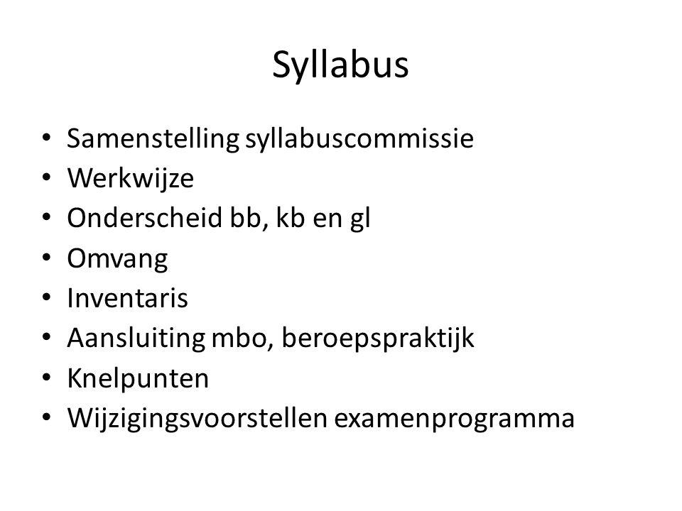 Syllabus Samenstelling syllabuscommissie Werkwijze Onderscheid bb, kb en gl Omvang Inventaris Aansluiting mbo, beroepspraktijk Knelpunten Wijzigingsvo