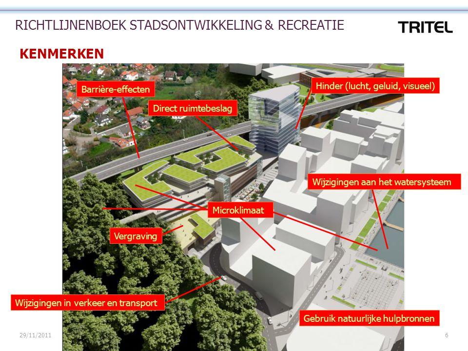 29/11/2011P.000807 - Richtlijnenboek Stadsontwikkeling en Recreatie6 RICHTLIJNENBOEK STADSONTWIKKELING & RECREATIE KENMERKEN Direct ruimtebeslag Barri