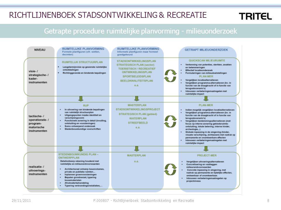 Getrapte procedure ruimtelijke planvorming - milieuonderzoek 29/11/2011P.000807 - Richtlijnenboek Stadsontwikkeling en Recreatie8 RICHTLIJNENBOEK STAD