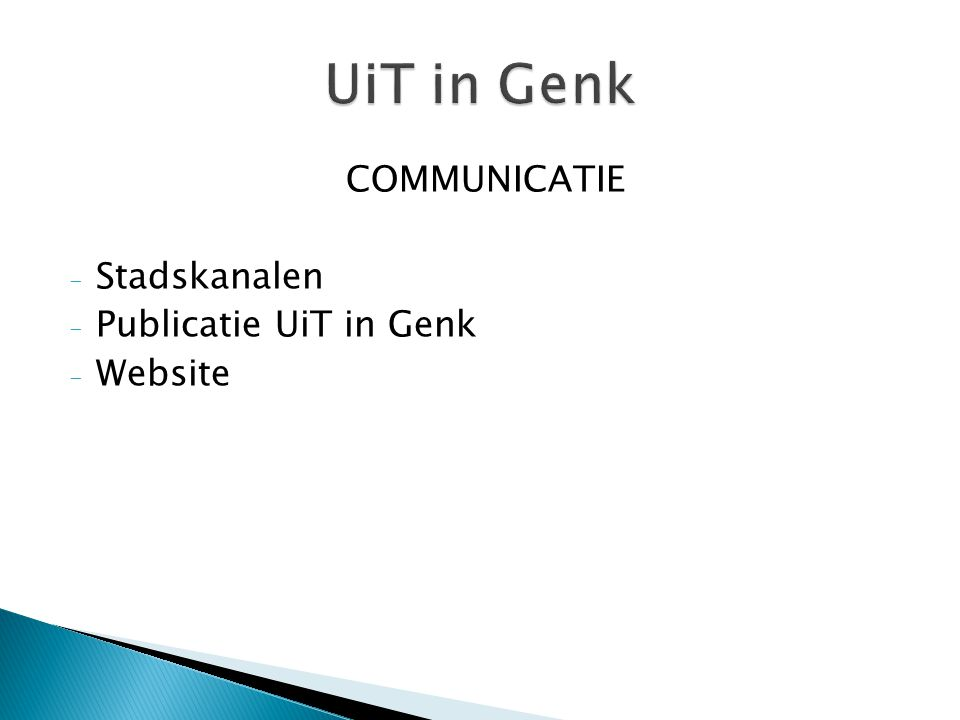 COMMUNICATIE - Stadskanalen - Publicatie UiT in Genk - Website