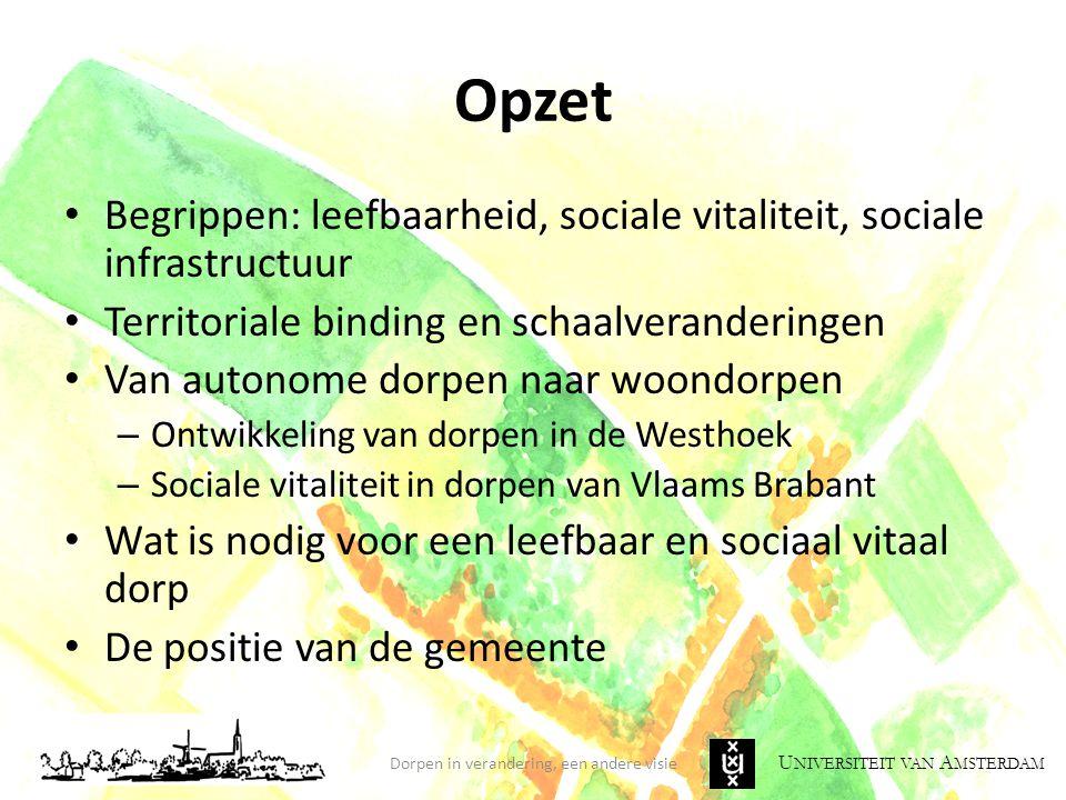 U NIVERSITEIT VAN A MSTERDAM Opzet Begrippen: leefbaarheid, sociale vitaliteit, sociale infrastructuur Territoriale binding en schaalveranderingen Van