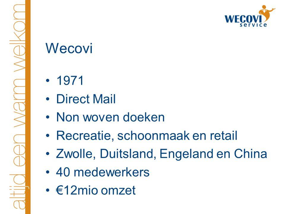 Wecovi 1971 Direct Mail Non woven doeken Recreatie, schoonmaak en retail Zwolle, Duitsland, Engeland en China 40 medewerkers €12mio omzet
