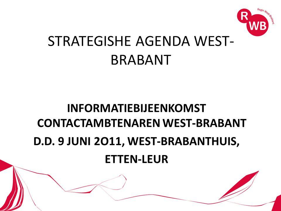 STRATEGISHE AGENDA WEST- BRABANT INFORMATIEBIJEENKOMST CONTACTAMBTENAREN WEST-BRABANT D.D.