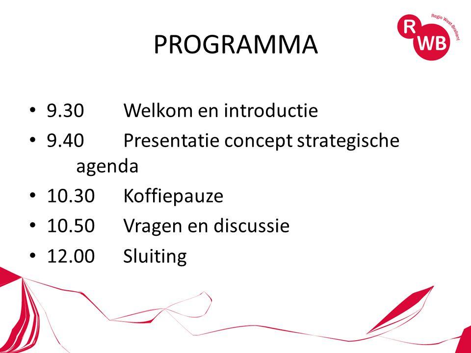 PROGRAMMA 9.30 Welkom en introductie 9.40Presentatie concept strategische agenda 10.30Koffiepauze 10.50Vragen en discussie 12.00Sluiting