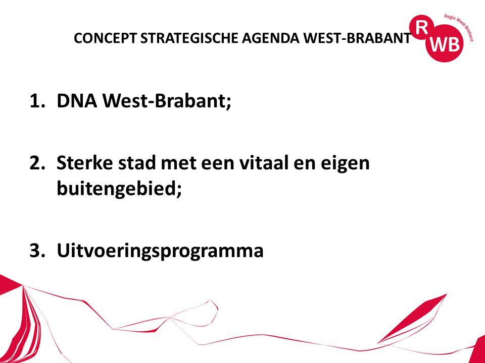 CONCEPT STRATEGISCHE AGENDA WEST-BRABANT 1.DNA West-Brabant; 2.Sterke stad met een vitaal en eigen buitengebied; 3.Uitvoeringsprogramma