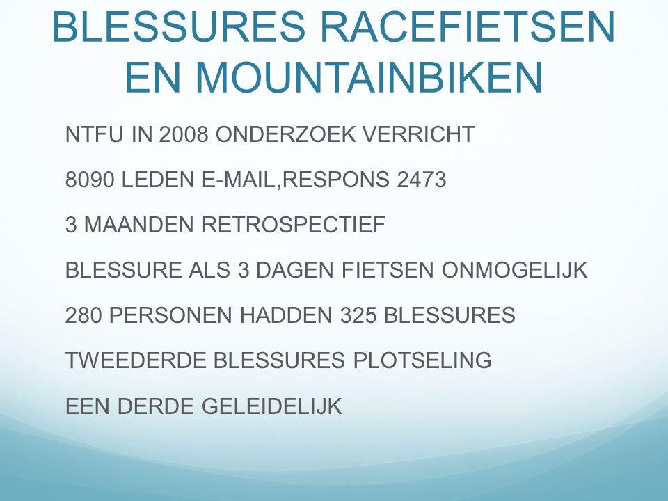 BLESSURES RACEFIETSEN EN MOUNTAINBIKEN NTFU IN 2008 ONDERZOEK VERRICHT 8090 LEDEN E-MAIL,RESPONS 2473 3 MAANDEN RETROSPECTIEF BLESSURE ALS 3 DAGEN FIE