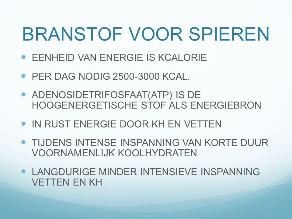 BRANSTOF VOOR SPIEREN EENHEID VAN ENERGIE IS KCALORIE PER DAG NODIG 2500-3000 KCAL. ADENOSIDETRIFOSFAAT(ATP) IS DE HOOGENERGETISCHE STOF ALS ENERGIEBR