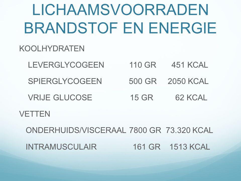 LICHAAMSVOORRADEN BRANDSTOF EN ENERGIE KOOLHYDRATEN LEVERGLYCOGEEN 110 GR 451 KCAL SPIERGLYCOGEEN 500 GR 2050 KCAL VRIJE GLUCOSE 15 GR 62 KCAL VETTEN