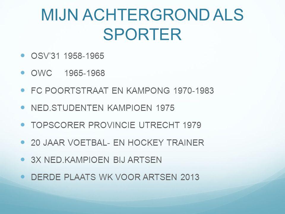 MIJN ACHTERGROND ALS SPORTER OSV'31 1958-1965 OWC 1965-1968 FC POORTSTRAAT EN KAMPONG 1970-1983 NED.STUDENTEN KAMPIOEN 1975 TOPSCORER PROVINCIE UTRECH