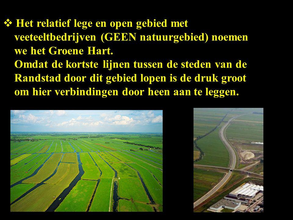  Het relatief lege en open gebied met veeteeltbedrijven (GEEN natuurgebied) noemen we het Groene Hart. Omdat de kortste lijnen tussen de steden van d