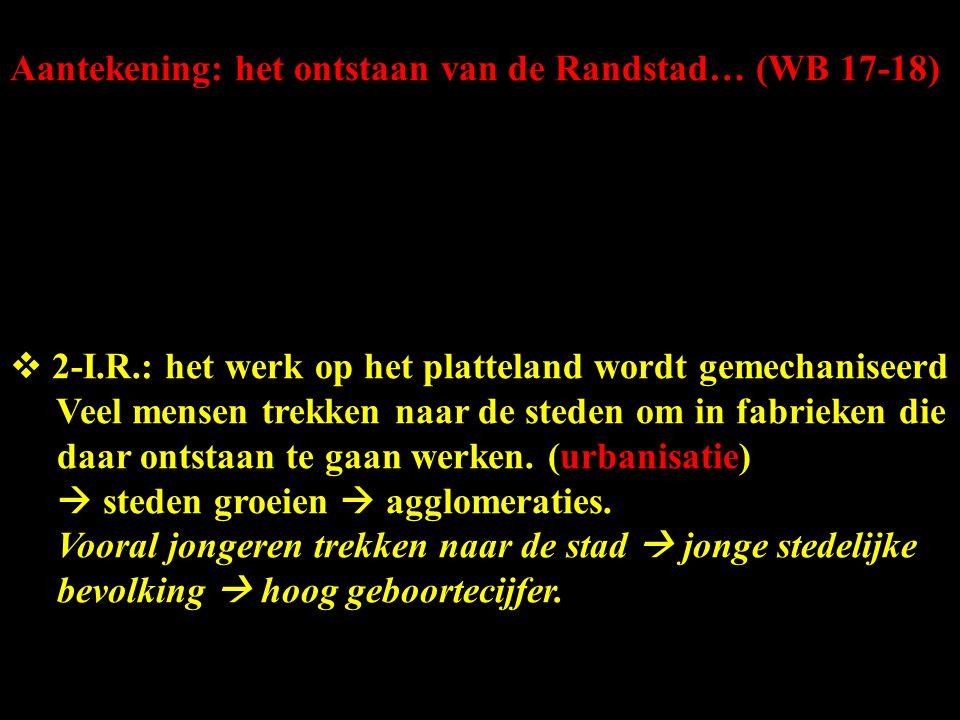 Aantekening: het ontstaan van de Randstad… (WB 17-18)  2-I.R.: het werk op het platteland wordt gemechaniseerd Veel mensen trekken naar de steden om