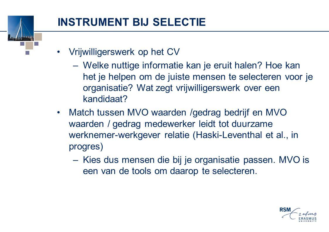 INSTRUMENT BIJ SELECTIE Vrijwilligerswerk op het CV –Welke nuttige informatie kan je eruit halen? Hoe kan het je helpen om de juiste mensen te selecte
