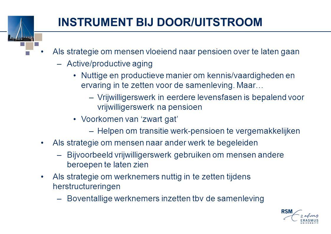 INSTRUMENT BIJ DOOR/UITSTROOM Als strategie om mensen vloeiend naar pensioen over te laten gaan –Active/productive aging Nuttige en productieve manier