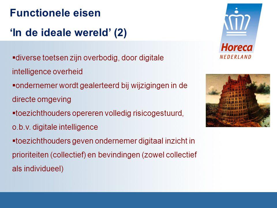 Functionele eisen 'In de ideale wereld' (2)  diverse toetsen zijn overbodig, door digitale intelligence overheid  ondernemer wordt gealerteerd bij wijzigingen in de directe omgeving  toezichthouders opereren volledig risicogestuurd, o.b.v.