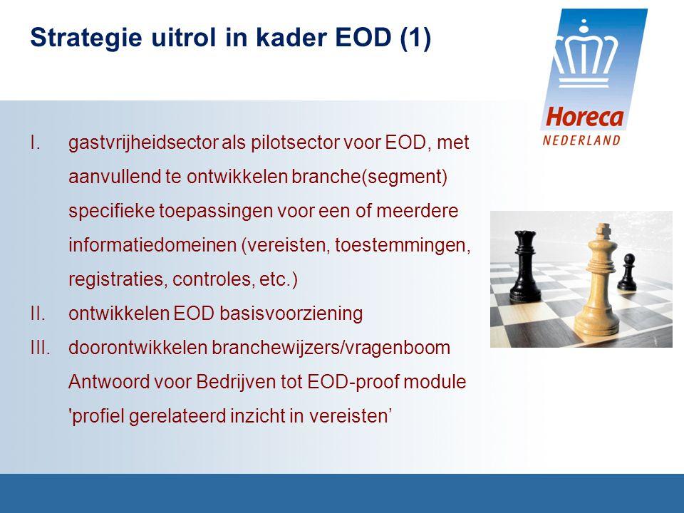 Strategie uitrol in kader EOD (1) I.gastvrijheidsector als pilotsector voor EOD, met aanvullend te ontwikkelen branche(segment) specifieke toepassingen voor een of meerdere informatiedomeinen (vereisten, toestemmingen, registraties, controles, etc.) II.ontwikkelen EOD basisvoorziening III.doorontwikkelen branchewijzers/vragenboom Antwoord voor Bedrijven tot EOD-proof module profiel gerelateerd inzicht in vereisten'
