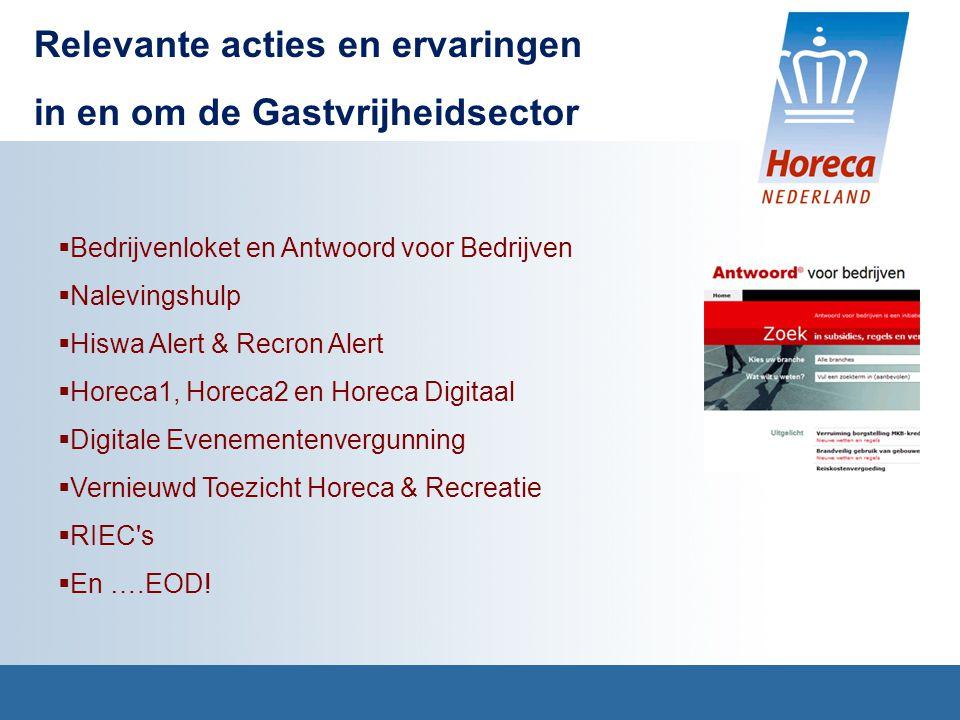  Bedrijvenloket en Antwoord voor Bedrijven  Nalevingshulp  Hiswa Alert & Recron Alert  Horeca1, Horeca2 en Horeca Digitaal  Digitale Evenementenvergunning  Vernieuwd Toezicht Horeca & Recreatie  RIEC s  En ….EOD.