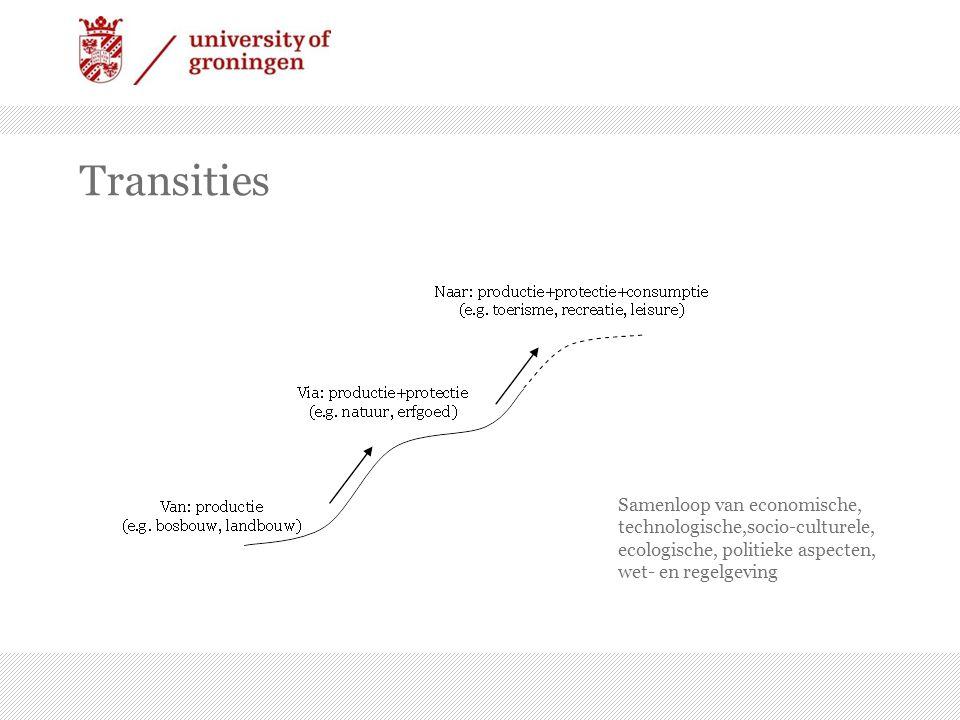 Transities Samenloop van economische, technologische,socio-culturele, ecologische, politieke aspecten, wet- en regelgeving